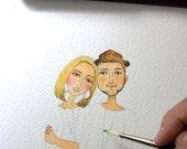 custom portrait, Custom Illustrated for Wedding Invitation, Custom Couple illustration.  DIGITAL FILE .