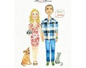 Custom AN OIGINAL Couple watercolor illustration, Save the date , guestbook poster, custom portrait .