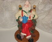 Santa in Slippers Relaxing with Cocoa - Incense Burner Figurine