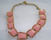 Vintage 1950's Thermoset GoldToned Coral Pink Scrolling Design Choker - Costume Jewelry