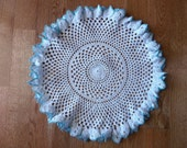 Turquoise and White Vintage Ruffled Round Cotton Crocheted Doily