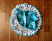 50s Vintage Retro Turquoise, White and Leafy Green Leaf-shaped Divided Serving Candy or Relish Dish