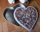 Sale--was 8.50--Valentine Heart Vintage Fanny May Candies Tin with Victorian Angel Cupid Motif
