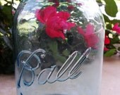 Vintage Blue-Green Ball Mason Canning Jar with Distressed Aged Zinc Lid