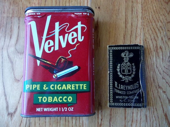 Assemblage Item--Vintage Velvet Smoking Tobacco Tin Can with Vintage Rolling Papers