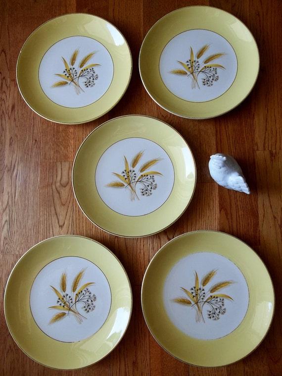 Salewas 14 50Yellow and White Wheat Design Dinnerware