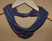 RESERVED FOR SHERI -- Upcycled T-Shirt Necklace/Scarf in Navy with Red and Off-White Stripe