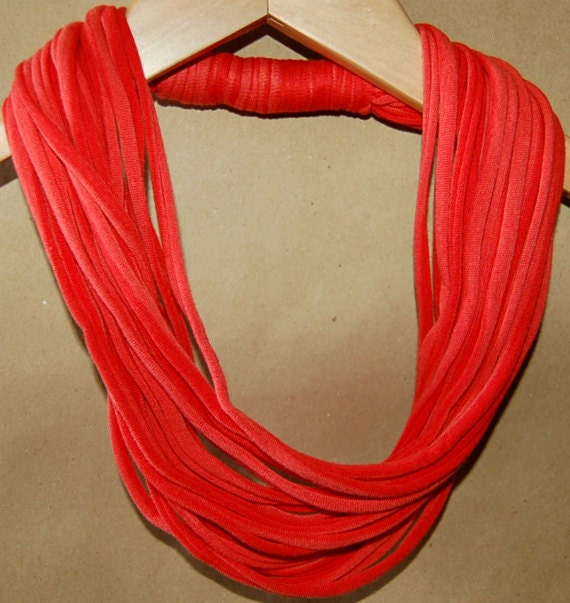 Upcycled T-Shirt Necklace / Scarf in Two-Tone Melon