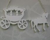 SALE Horse & Carriage Laser Cut Necklace