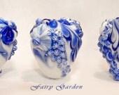 "Hollow bead   pendant ""Fairy Garden, Blue glitter"""