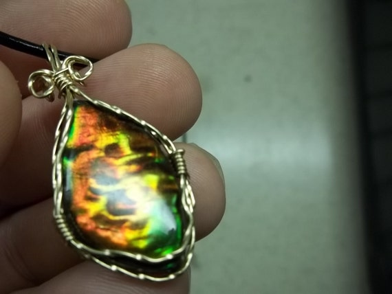 Canadian Ammolite 14kt Gold Wire Wrapped Pendant