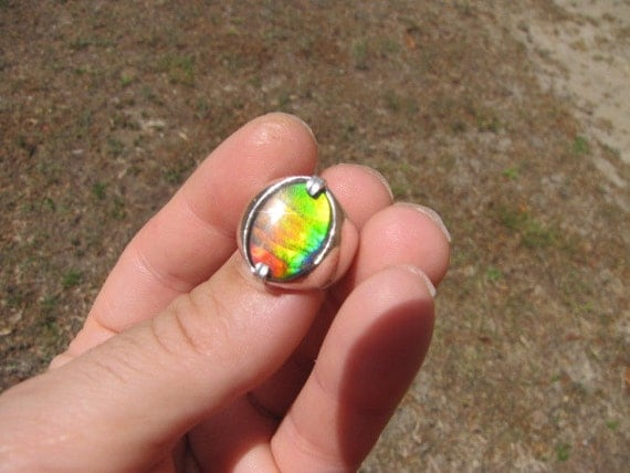 Canadian Ammolite Sterling Silver Ring Was 110.00 on Sale for 100.00
