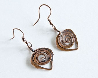 Copper Leaf Earrings (pair) Textured Antiqued Copper ft. Celtic Spirals Custom Copper Findings