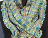 SALE Handwoven Scarf with Fringes with Silk and Bamboo