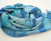 Handwoven Big Blue Cotton /Silk Shawl / Wrap