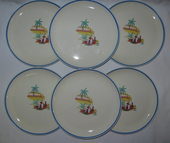 """Homer Laughlin Atlas Fiesta Mexican Mexicali 7"""" Plates Mint Unused Set of 6"""