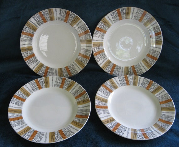 Set of 4 Midwinter Sienna Salad Plates in Very Good Condition