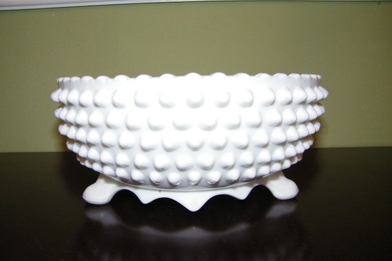 Milk Glass Hobnail Footed Bowl made by Fenton