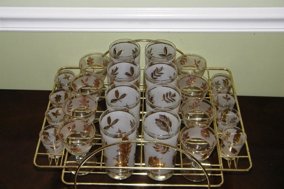 Vintage Cocktail set made by Libbey in the Golden Foliage Pattern