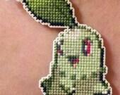 Pokemon- cute Chikorita stitched necklace