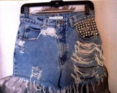 Vintage high waisted hand ripped studded shorts