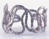Sterling Silver Pewter Metal Hammered Cuff Brecelet - Unique Hand Made Non Tarnish