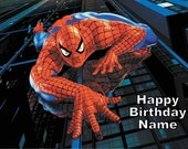 Spiderman Edible Cake Topper Personalized 1/4 Sheet - FREE SHIPPING