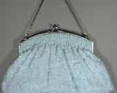 Vintage Magid Beaded Powder Blue Evening Bag - Chain Handle - Satin Interior - Dressy Evening Romantic Sexy Wedding Purse