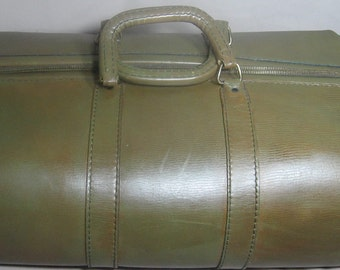 PRICE REDUCED - Vintage Rare Train/CarryOn Casablanca Mellow Touch Top-Grain Cowhide Luggage Case-Brown Green Antique Train Duffle Case