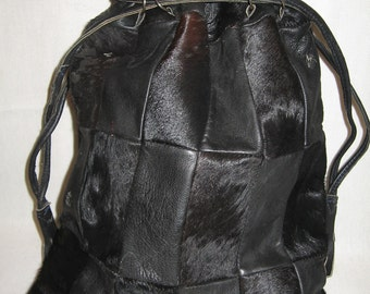 Vintage Black Cowhide Cow Hair '60's Leather Tote Bag Drawstring Fringe Hippie Purse