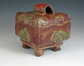 Ceramic box, textured ceramic box, lidded box, pillow box, leaf design, priority mail shipping included in shipping price