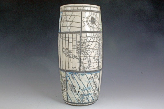 Tall Raku decorative piece for dried flowers, NOT water tight, wheel thrown, priority mail shipping included in shipping costs