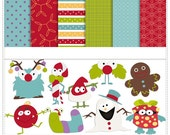 Christmas Monsters - Personal Use / S4H / S4O Digital Clip art and Paper Pack - Instant Download