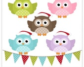 Cute Owls Digital Clip Art  - Commercial and Personal Use Clipart - Instant Download