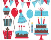 Birthday Bash vol 3 Digital Clip Art  - Commercial and Personal Use Clipart - Instant Download