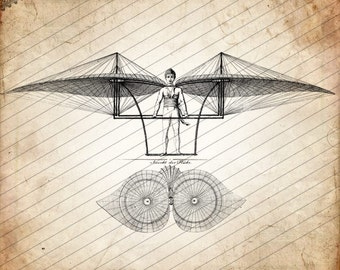 Early Flying Machine Design from 1807, Technical Illlustration, Digital Download No.41