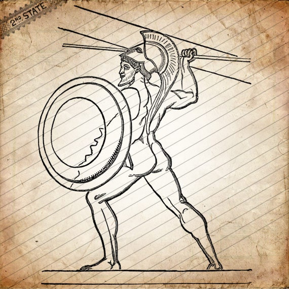 Hector the Trojan Prince with Spear and Shield, Greek Mythological Illustration, Digital Download No.54