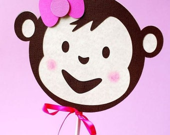 Girly Mod Monkey Inspired Table Decorations - set of 2
