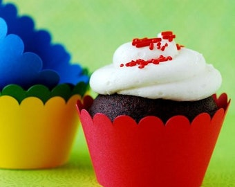 Primary Colored Cupcake Wrappers - set of 12