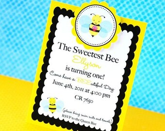 Custom Bumble Bee Party Invitations - set of 12