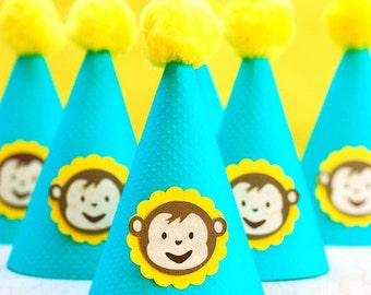 Mod Monkey Inspired Party Hats - set of 6 - boy or girl
