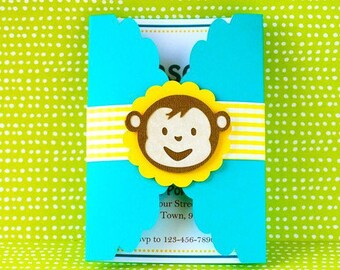 Boy Mod Monkey Inspired Custom Gate fold invitation