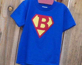 Customized Children's Superhero Personalized Appliqued T-Shirt with choice of Letter and Color