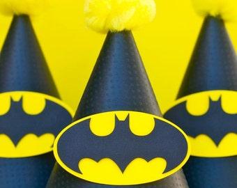 Batman Inspired Logo Party Hats - set of 6