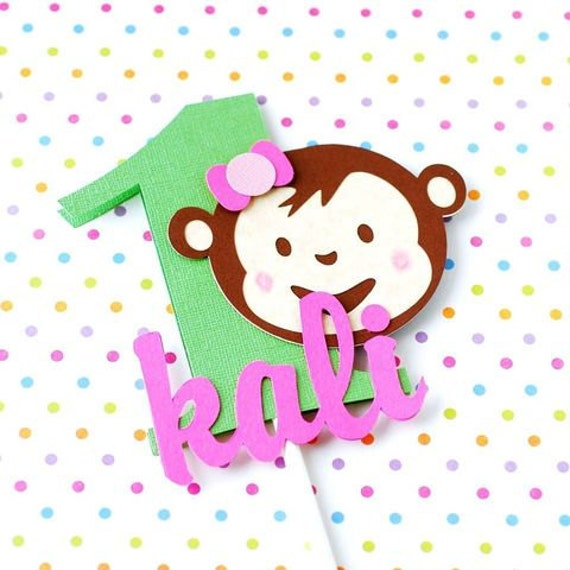 Custom Girly Mod Monkey Inspired Cake Topper with your choice of name and number