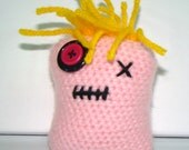 Pink Monster Doll with Yellow Hair and Button Eye, Amigurumi Doll, Crochet Monster, Square Plushy, Pink Yellow Soft Toy, Crochet Monster