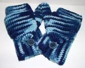 Convertible Fingerless Mittens Shades of Blue Crochet Ombre
