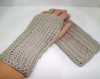 Wrist Warmers in Bamboo Blend Misty Taupe, Crochet Fingerless Mittens, Gray Fingerless Gloves, Grey Arm Warmers, Fall Fashion Mittens