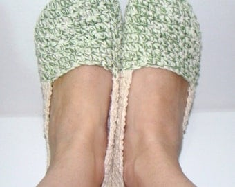 Crochet Slippers Sage Green and Ecru: Ladies Small to Medium