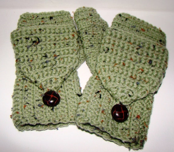 Custom order for Tess: Convertible Fingerless Mittens and Scarf Set in Frost Green